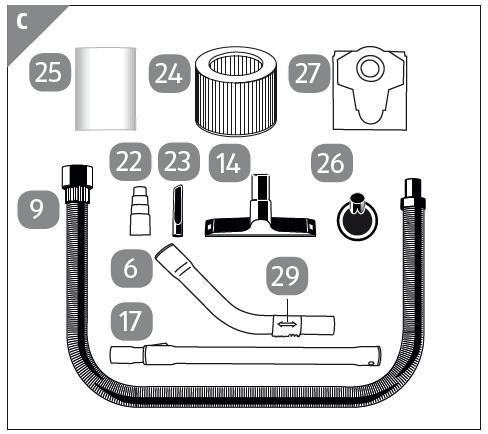 kombid se 14 234235001019 f r nass trockensauger wz nts30a. Black Bedroom Furniture Sets. Home Design Ideas